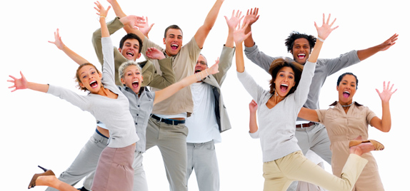 happy employees jumping